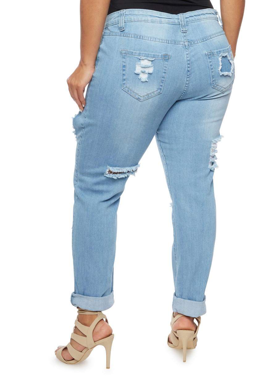 Plus Size VIP Ripped Boyfriend Jeans - Rainbow