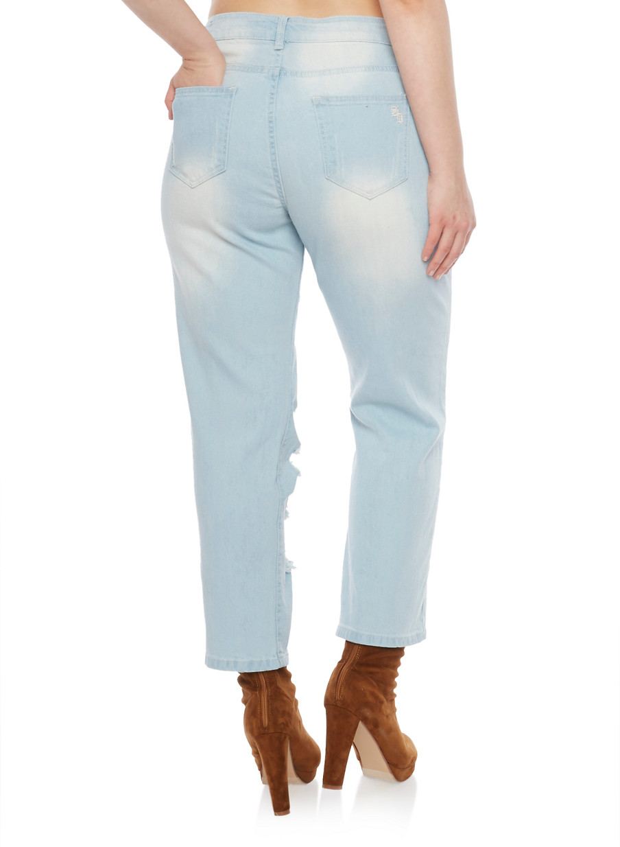 Plus Size VIP Destroyed Knee Faded Cropped Jeans - Rainbow