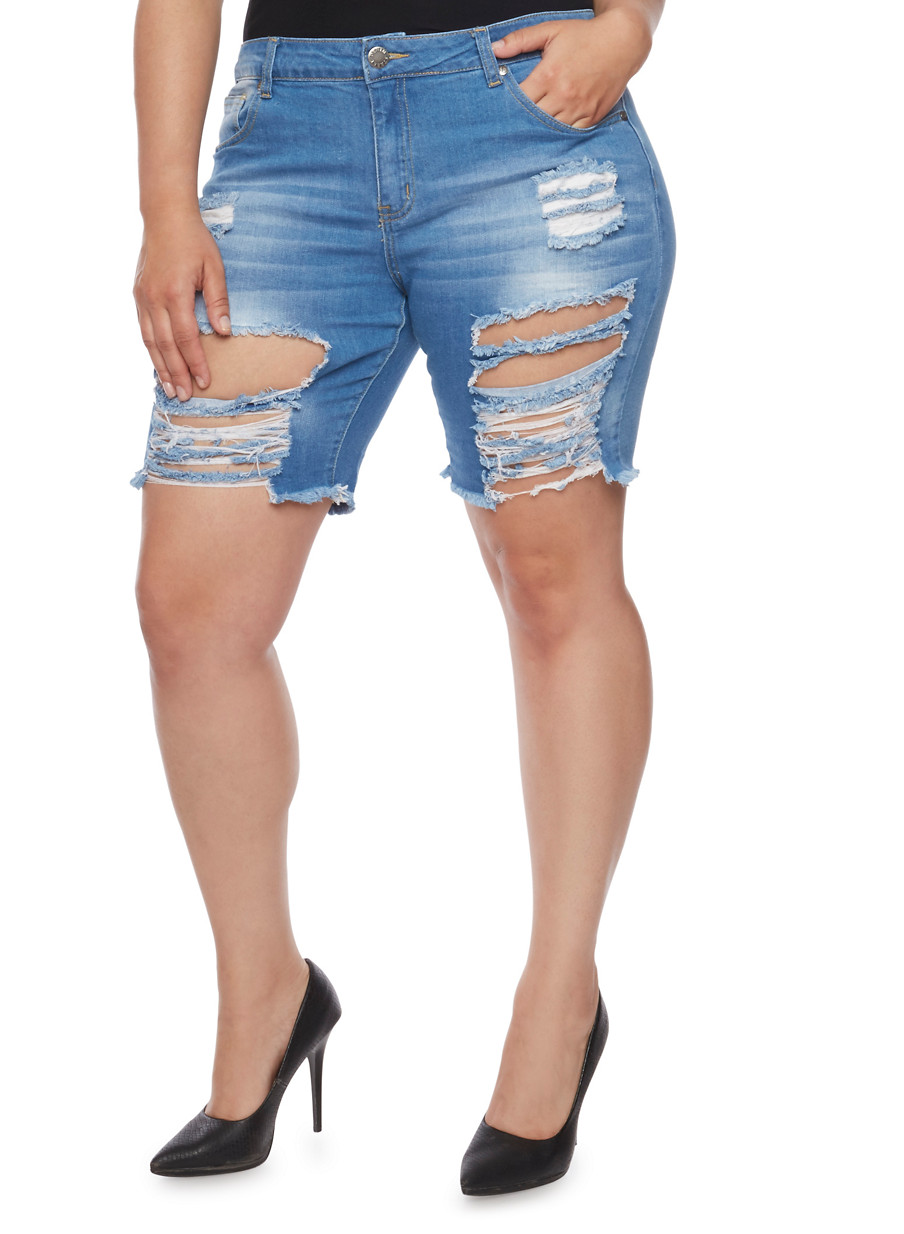 Plus Size VIP Destroyed Bermuda Jean Shorts - Rainbow