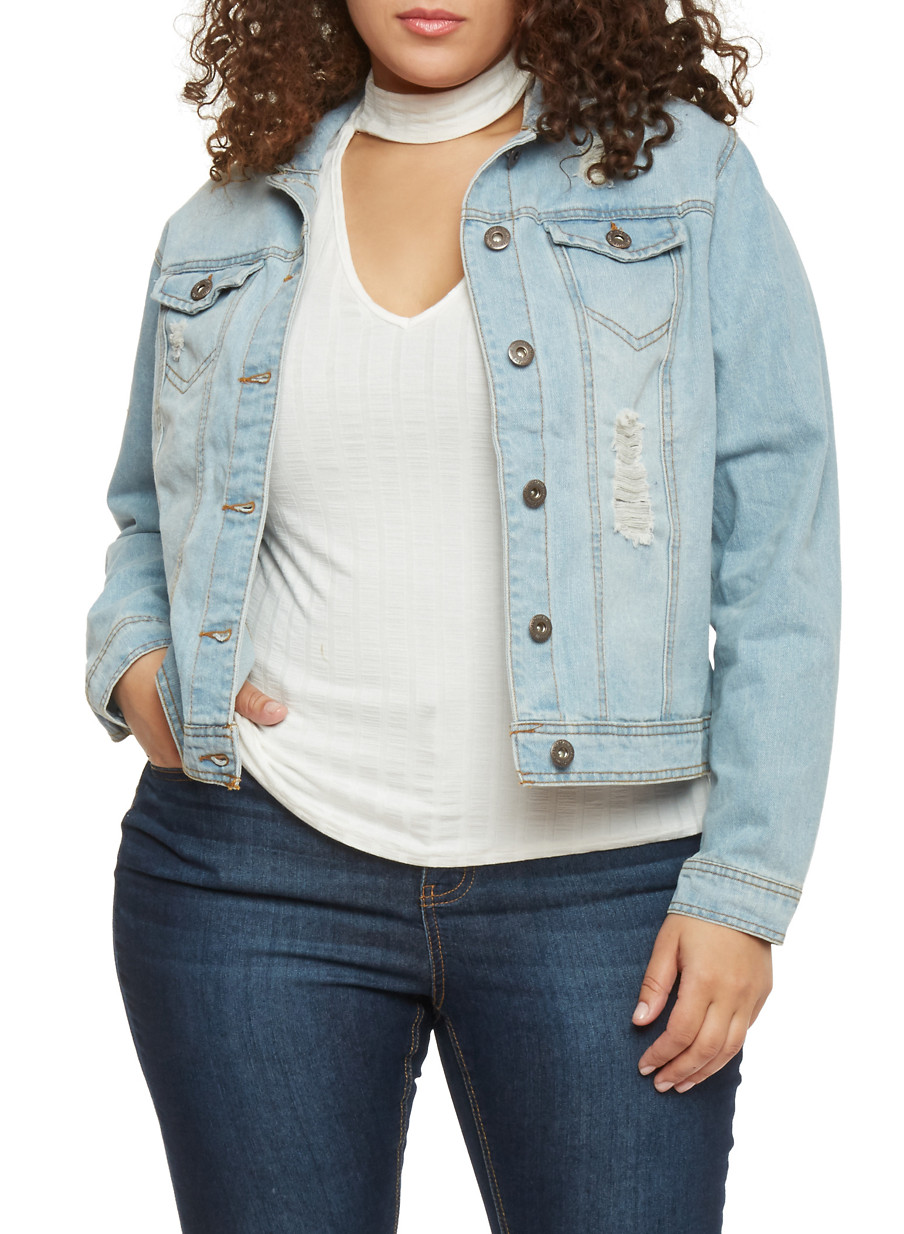 Plus Size Highway Jeans Distressed Denim Jacket - Rainbow
