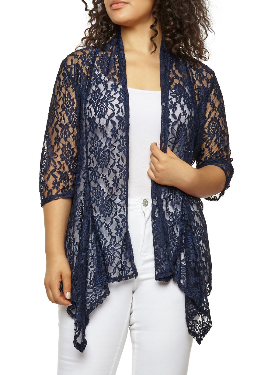 Plus Size Lace Cardigan - Rainbow