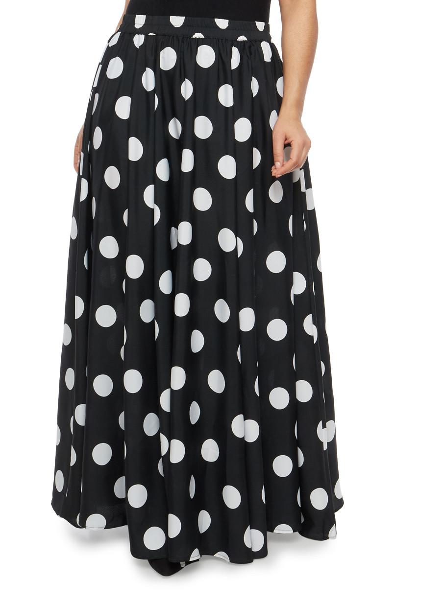 Plus Size Polka Dot Maxi SkirtBLACK WHITElarge