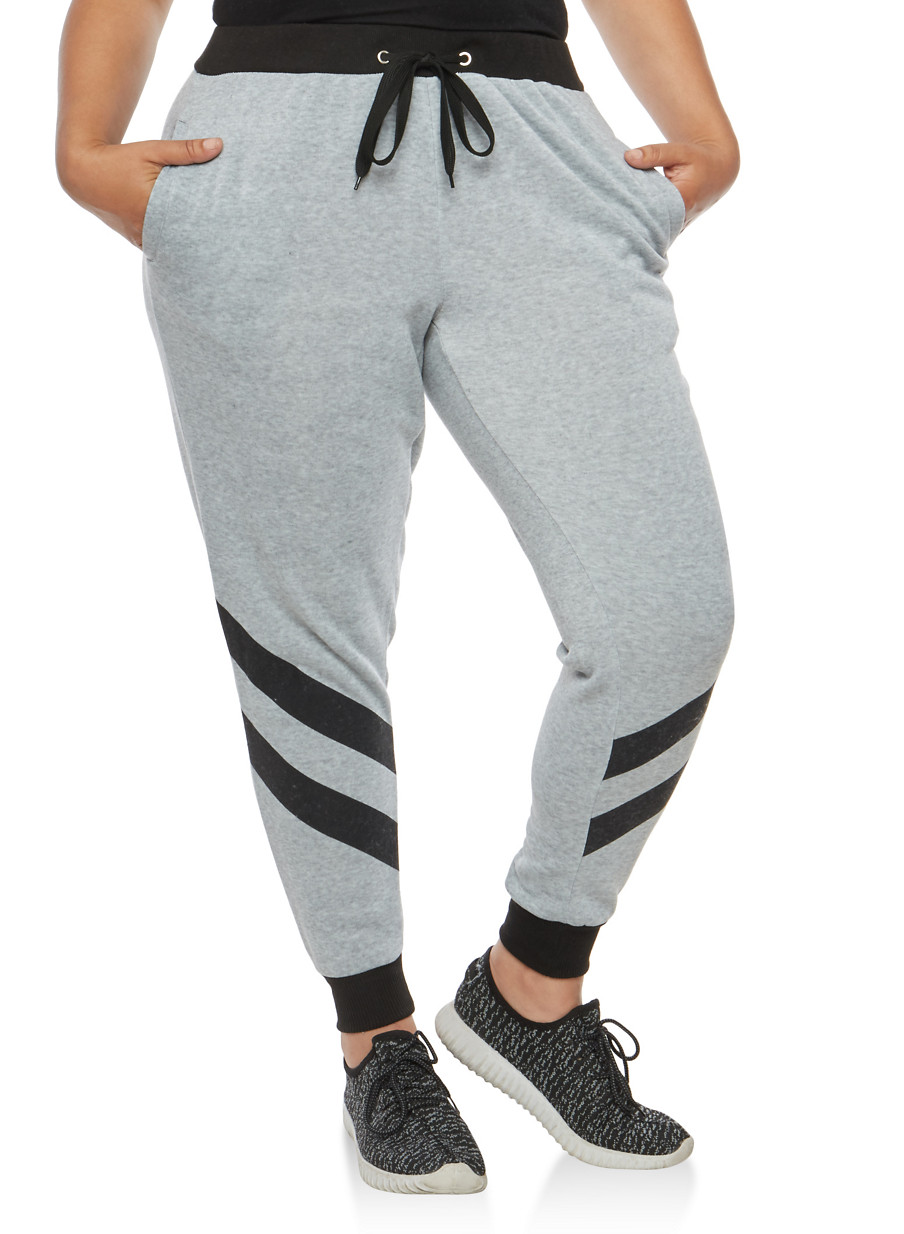 plus size two stripe sweatpants - rainbow