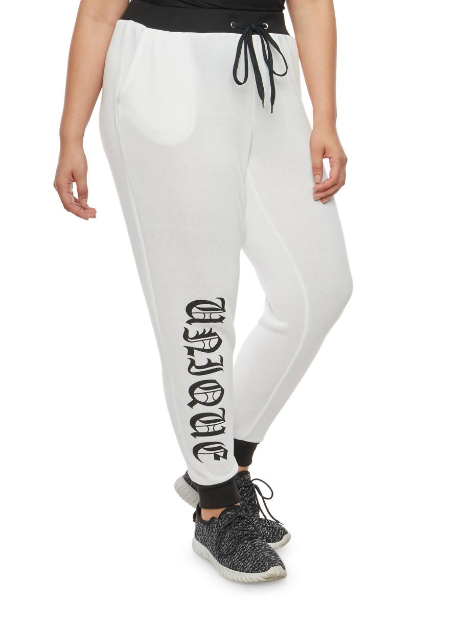 plus size unique graphic sweatpants - rainbow