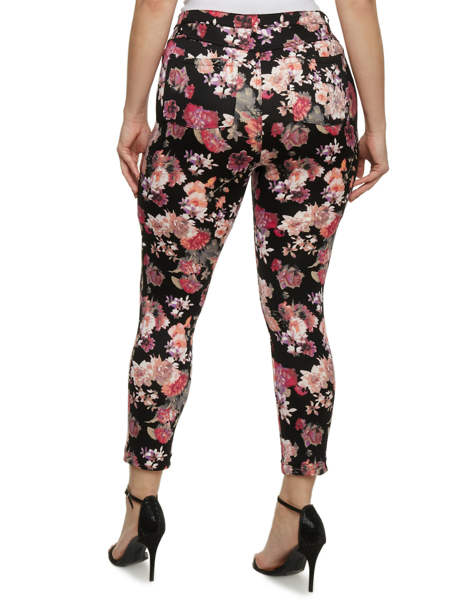 Plus Size Floral Print Jeggings - Rainbow