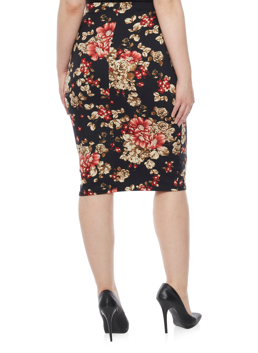Plus Size Floral Midi Pencil Skirt - Rainbow