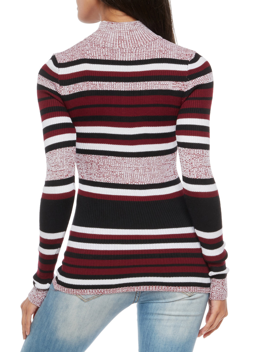 Striped Turtleneck Sweater - Rainbow