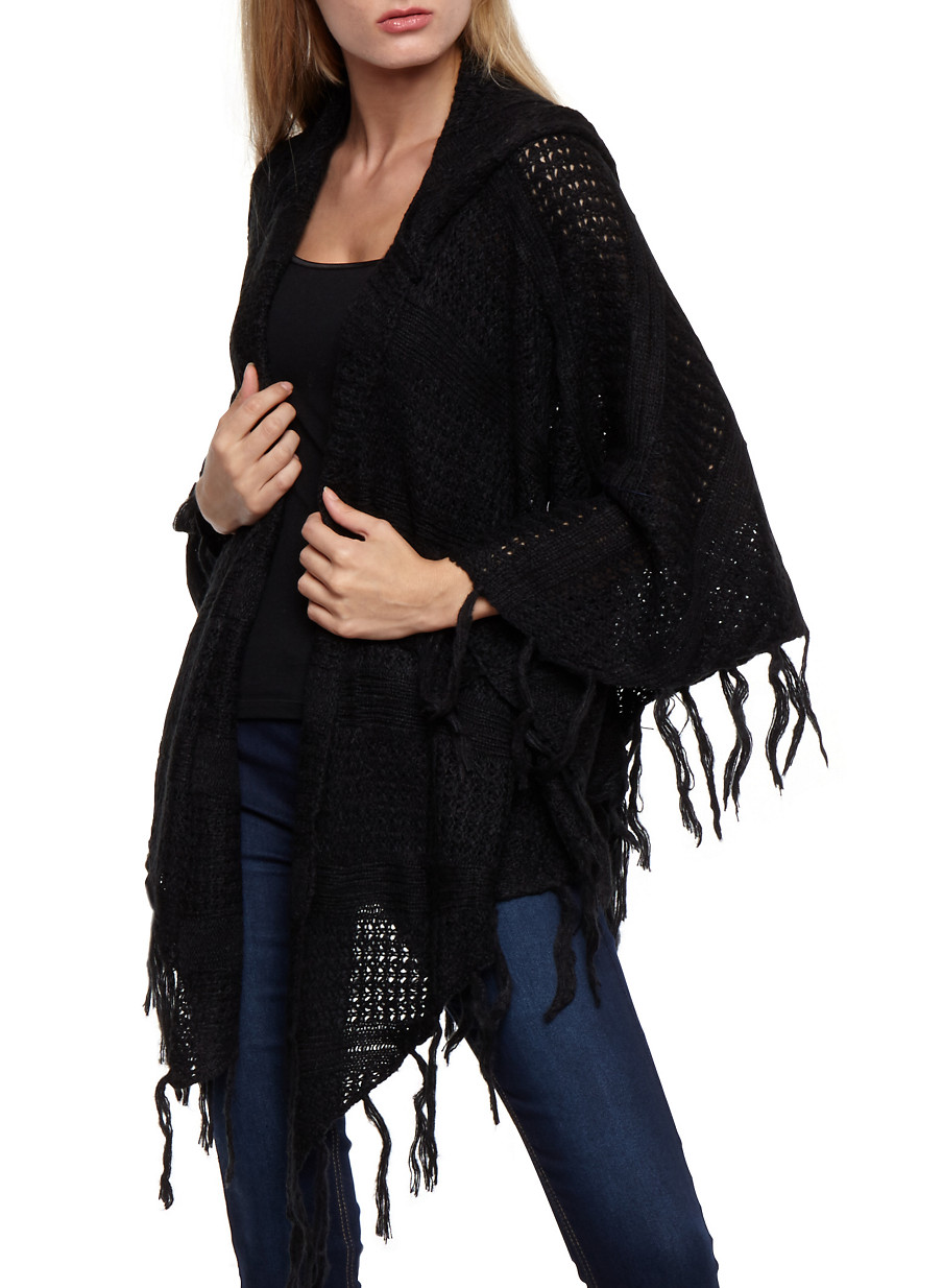 Open Front Asymmetrical Hooded Fringe Cardigan - Rainbow