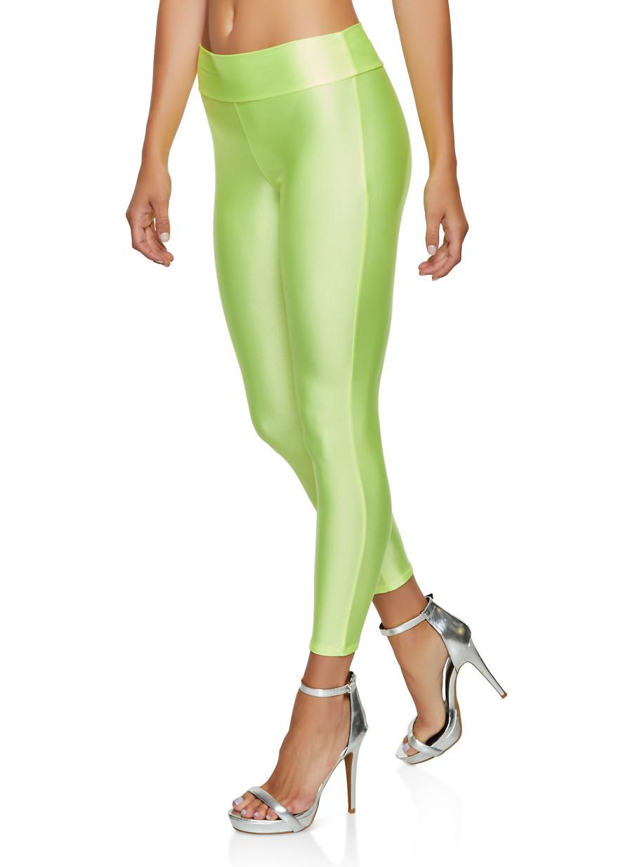 Coated Spandex Leggings - Green - Size M