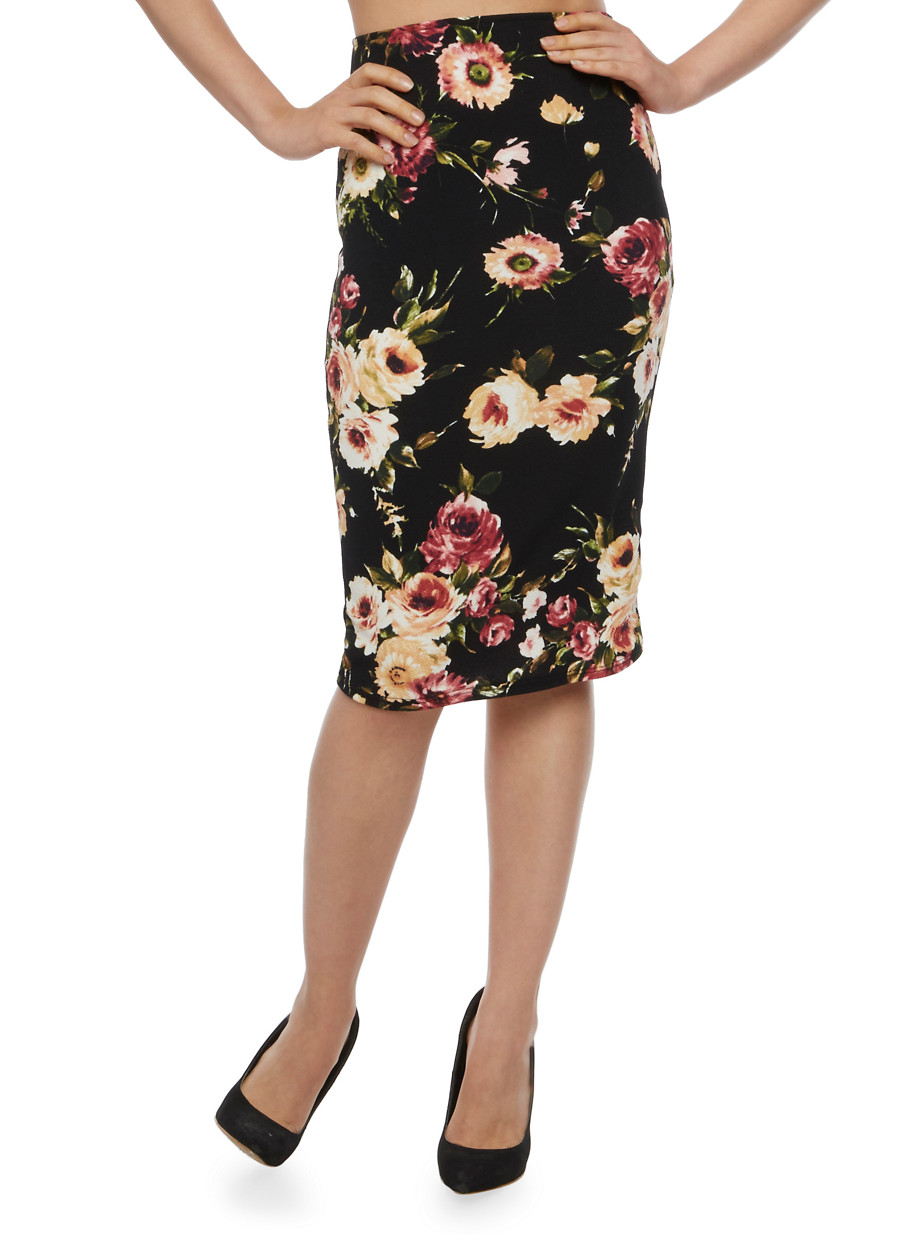 Floral Midi Pencil Skirt - Rainbow