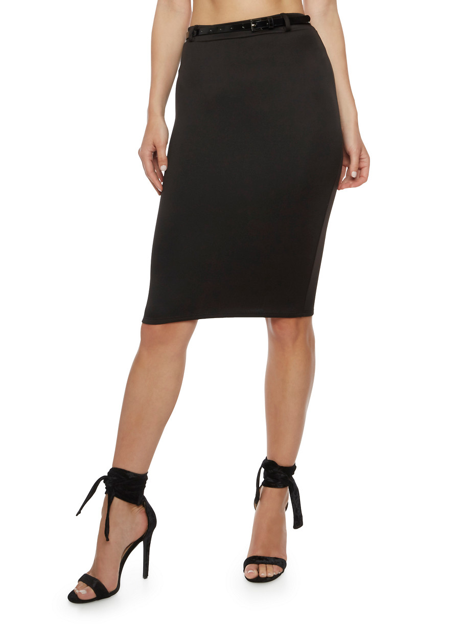 Solid Pencil Skirt with Belt - Rainbow