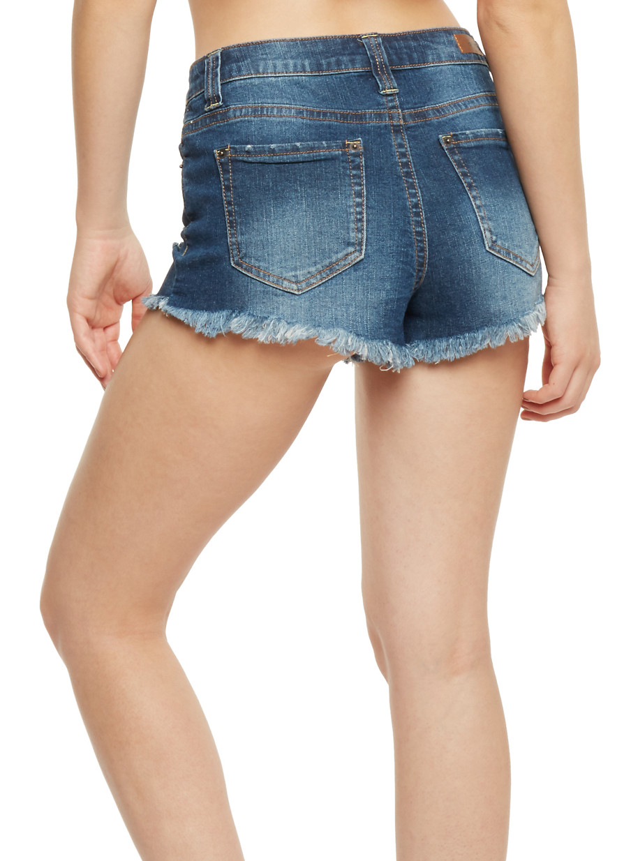 Almost Famous Frayed Jean Shorts - Rainbow