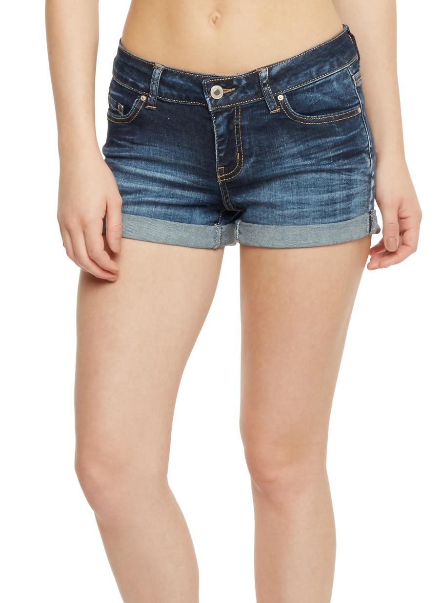 Wax Roll Cuff Jean Shorts - Rainbow