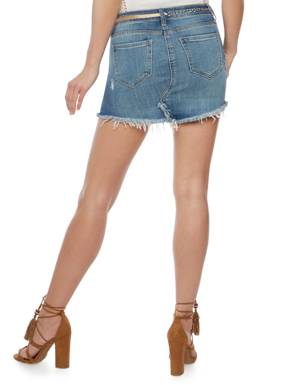 Destroyed Denim Mini Skirt - Rainbow