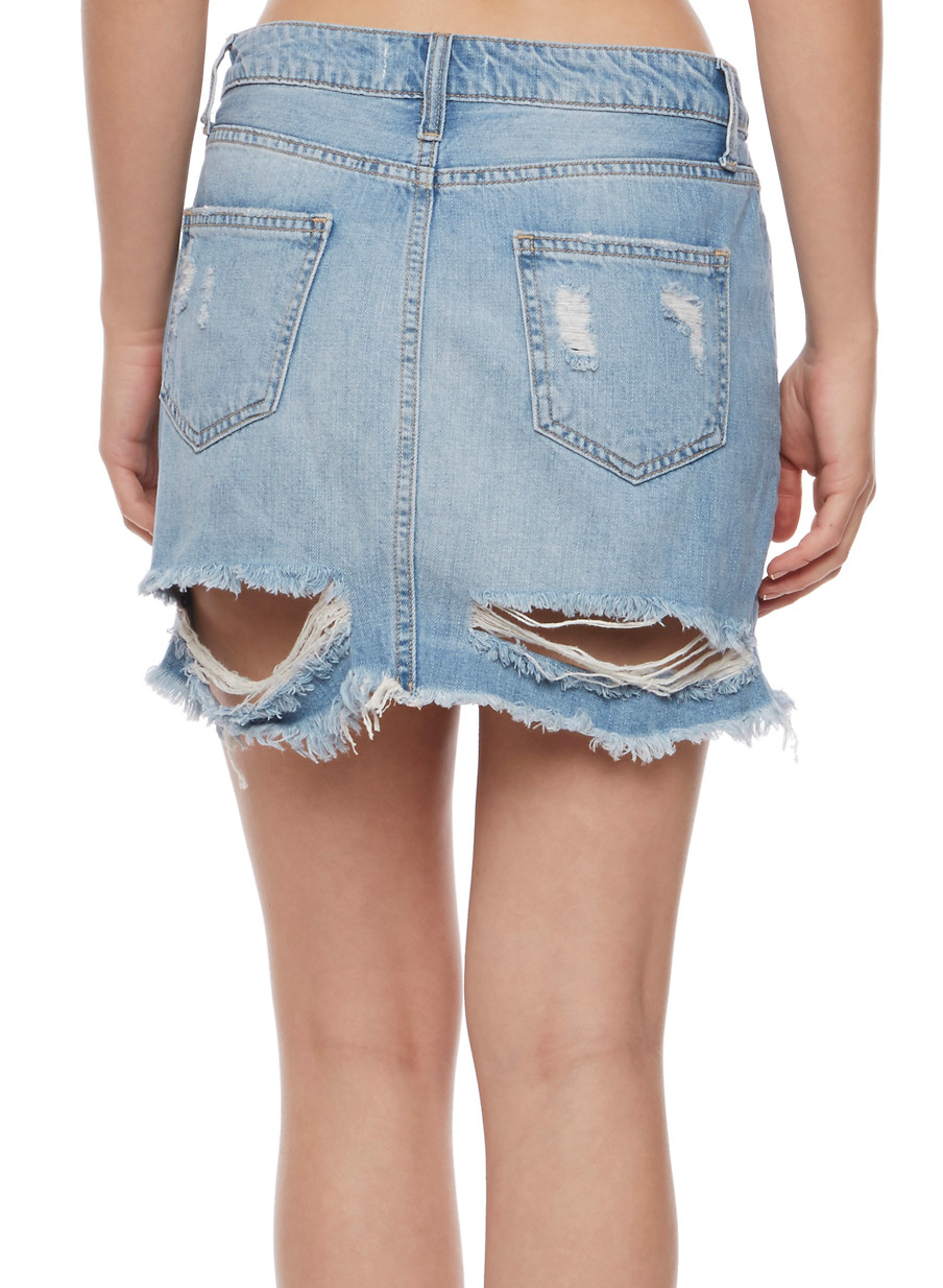 Frayed Denim Mini Skirt - Rainbow