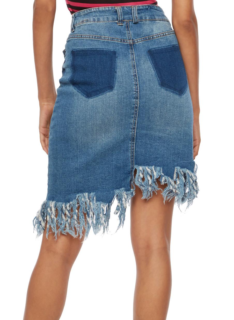 Asymmetrical Frayed Denim Skirt - Rainbow