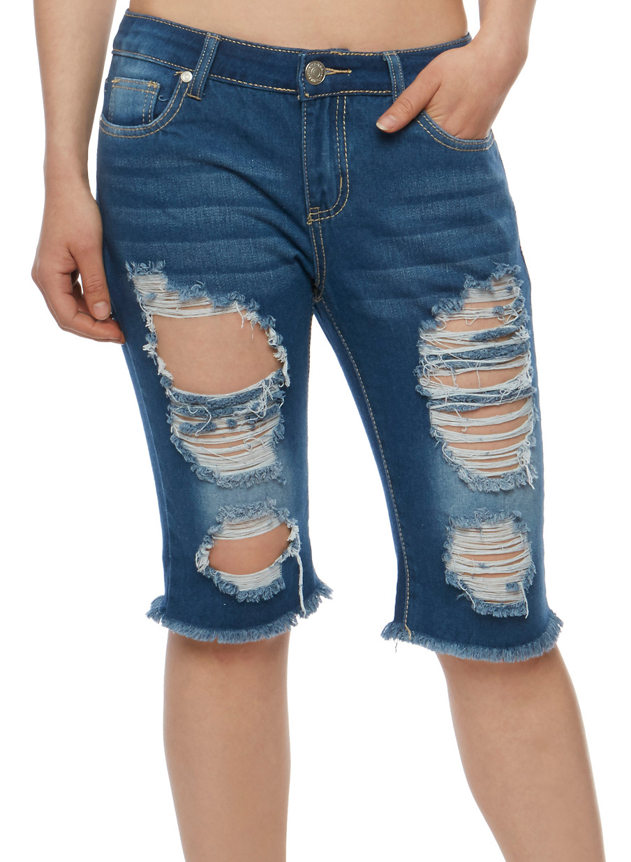 Destroyed Bermuda Jean Shorts with Frayed Hem - Rainbow