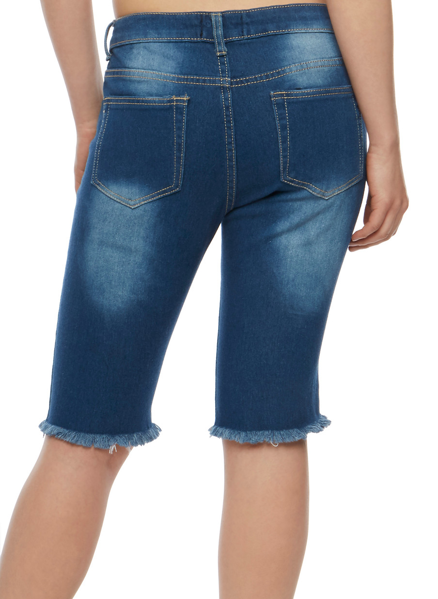 Destroyed Bermuda Jean Shorts with Frayed Hem - Rainbow