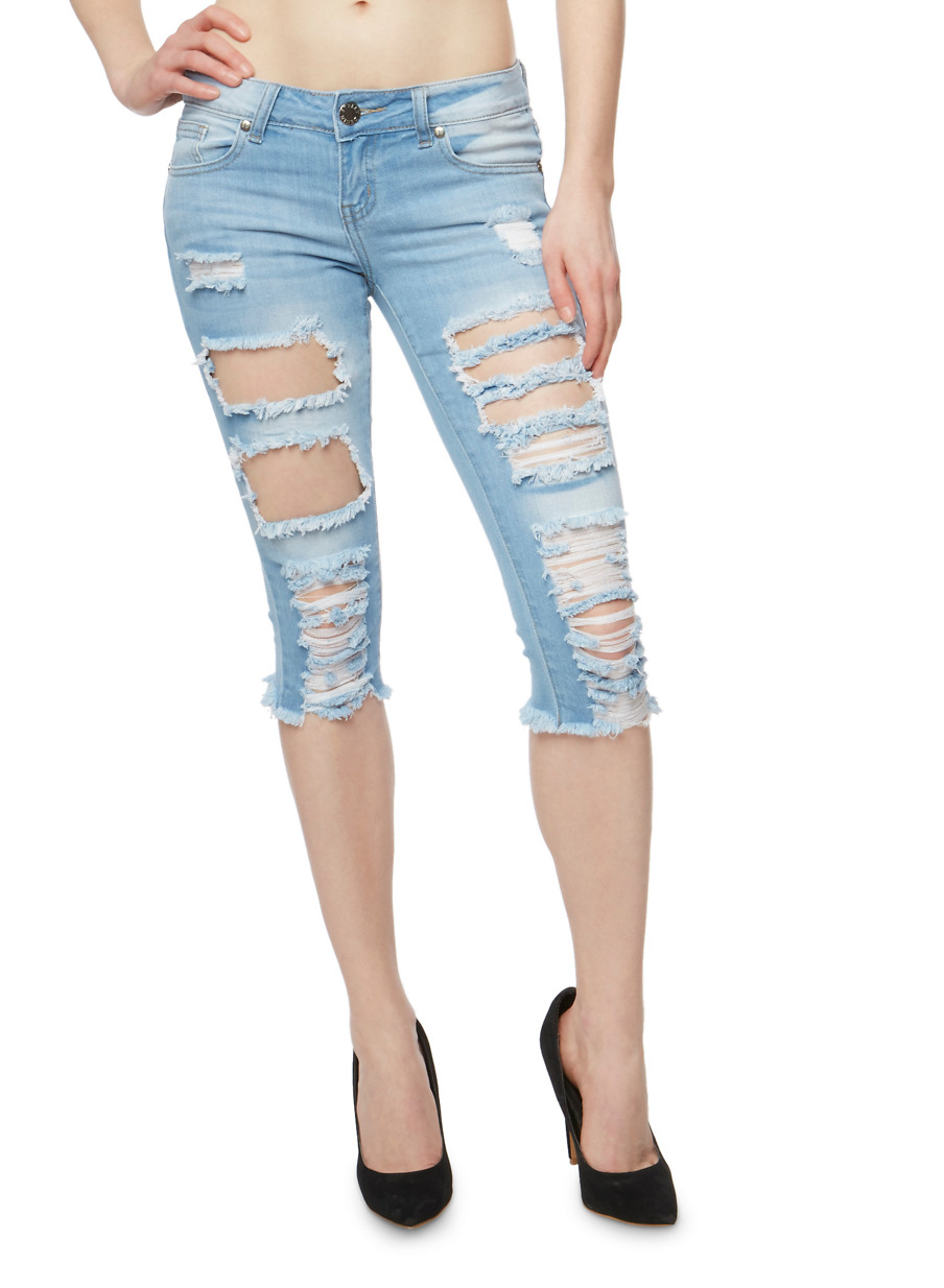 VIP Destroyed Capri Jeans with Frayed Hem - Rainbow