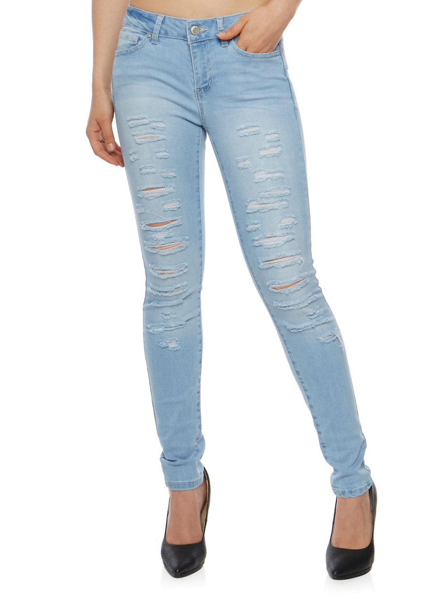 WAX Slashed Skinny Jeans - Rainbow
