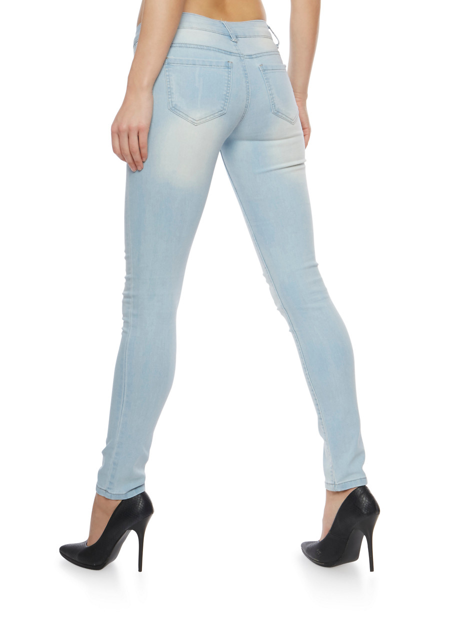 WAX Distressed Light Wash Skinny Jeans - Rainbow