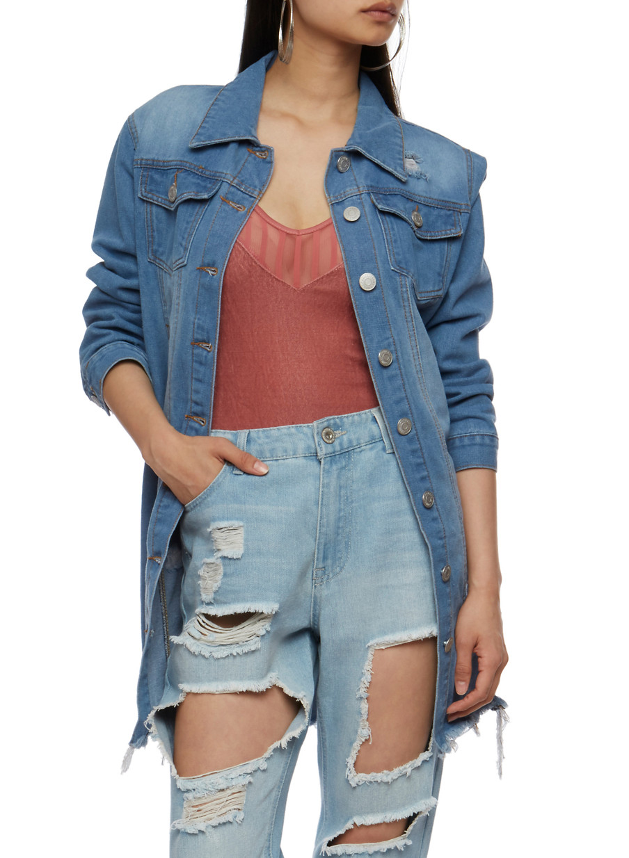 Distressed Button Front Long Denim Jacket - Rainbow