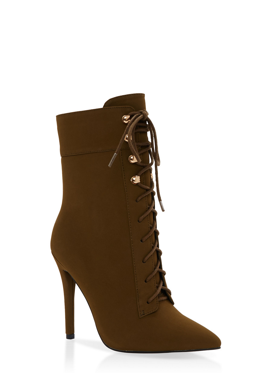 Lace Up High Heel Booties with Side Zipper - Rainbow