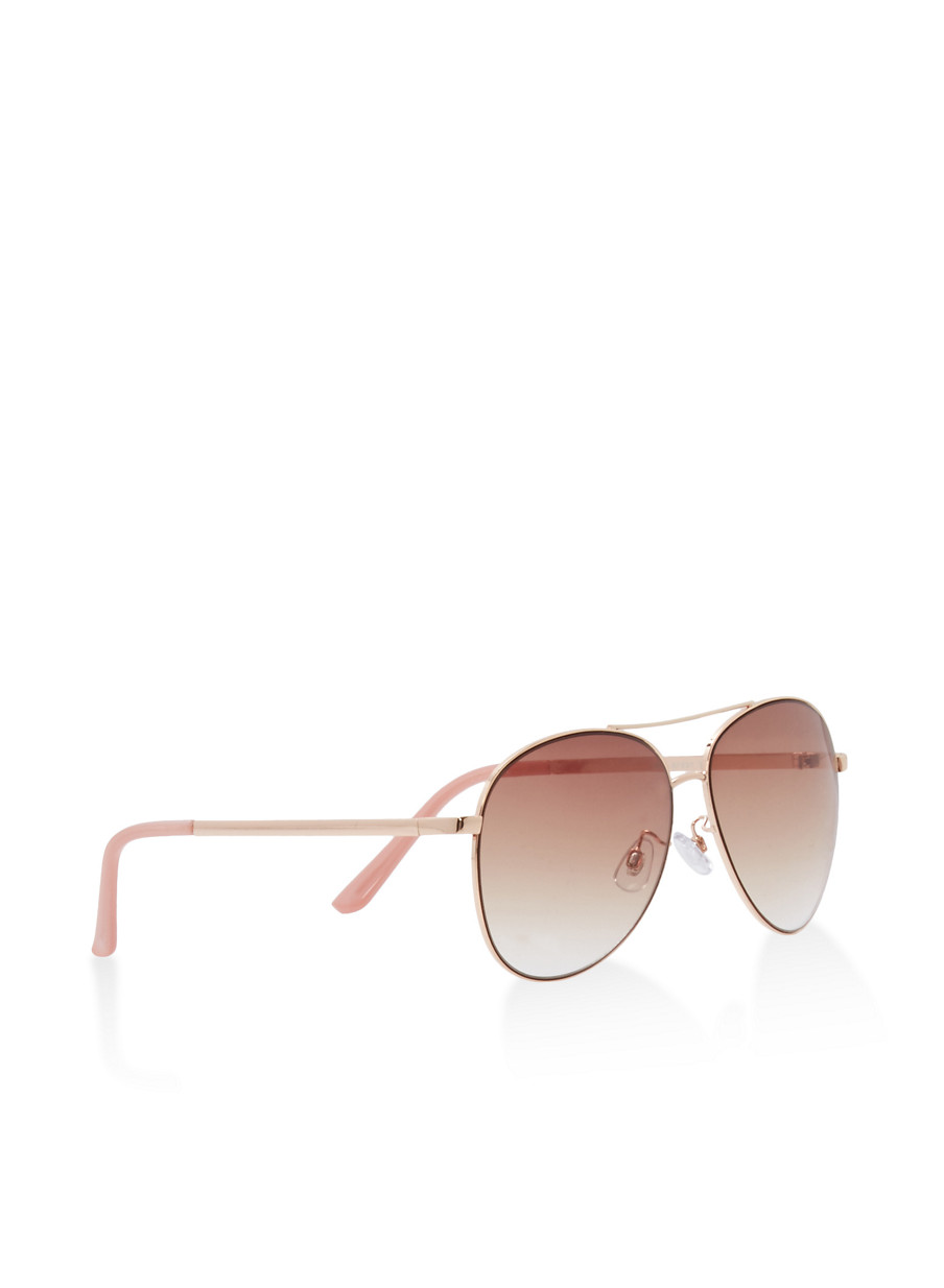 ... Metallic Top Bar Aviator Sunglasses,BLUSH,large