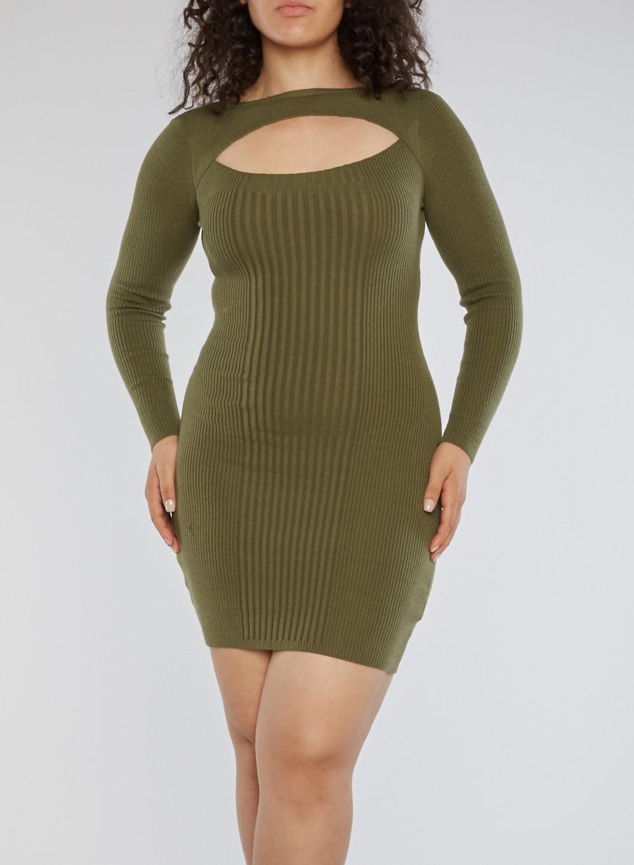 Plus Size Rib Knit Keyhole Sweater Dress - Rainbow