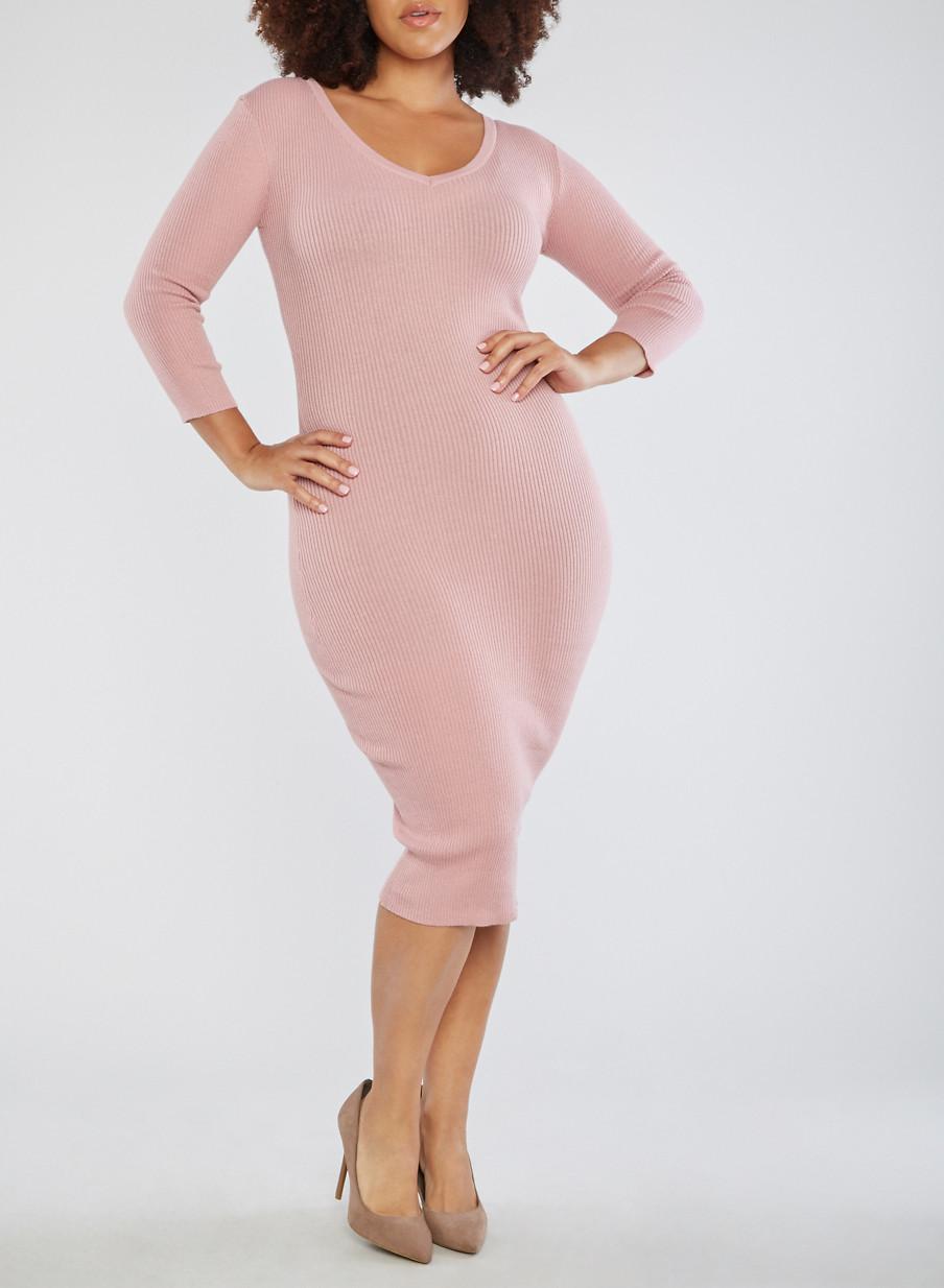 Plus Size Open Back Sweater Dress - Rainbow