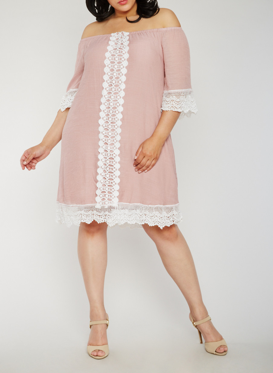Plus Size Off the Shoulder Peasant Dress with Crochet Trim - Rainbow