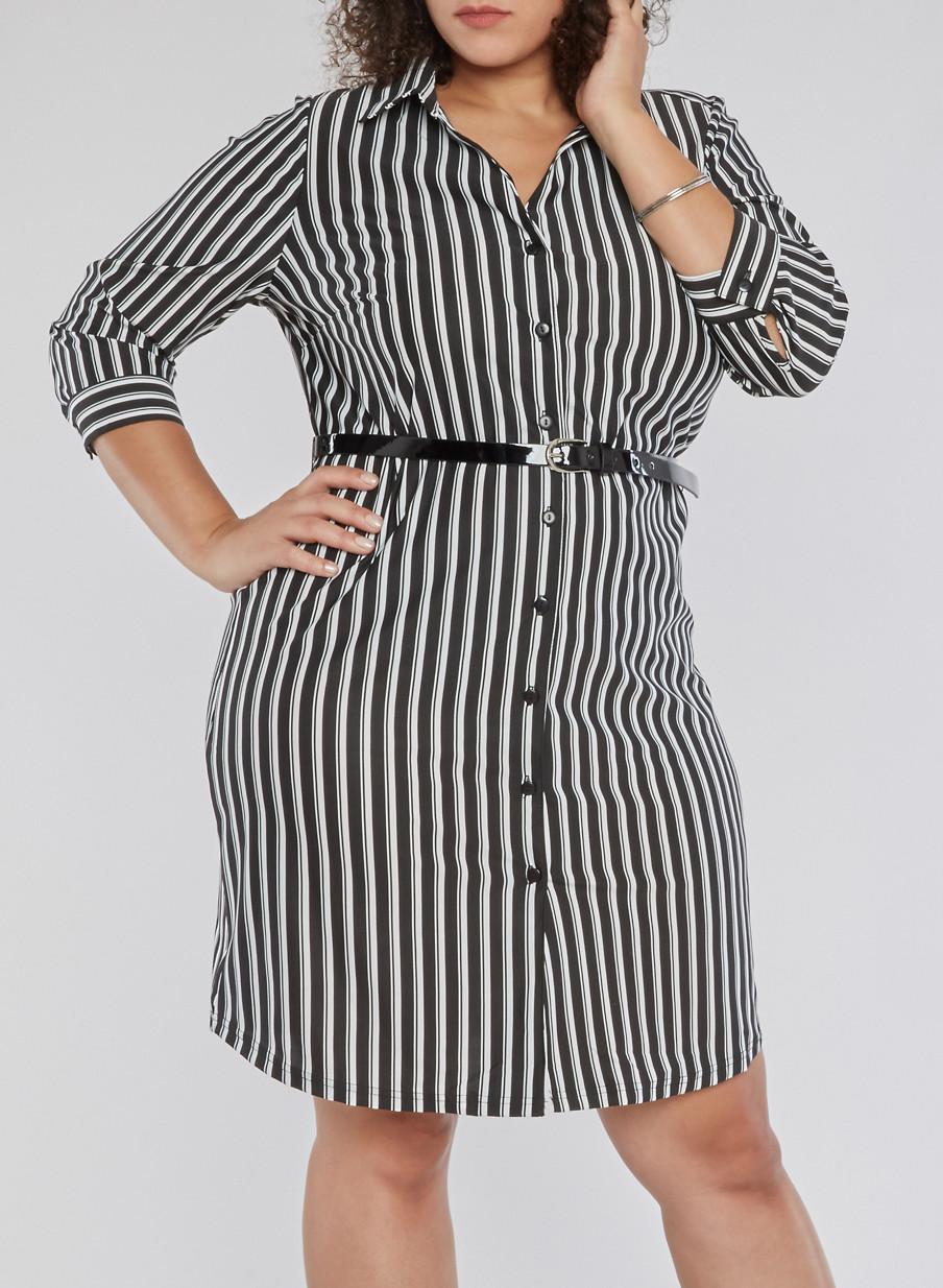 Plus Size Striped Shirt Dress with Belt - Rainbow