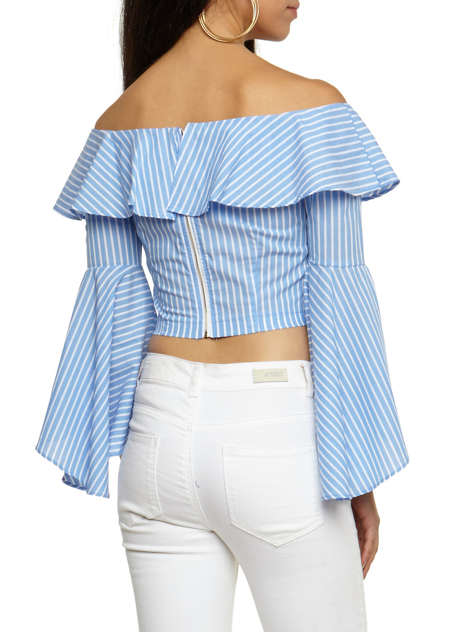 Striped Ruffle Off the Shoulder Crop Top - Rainbow