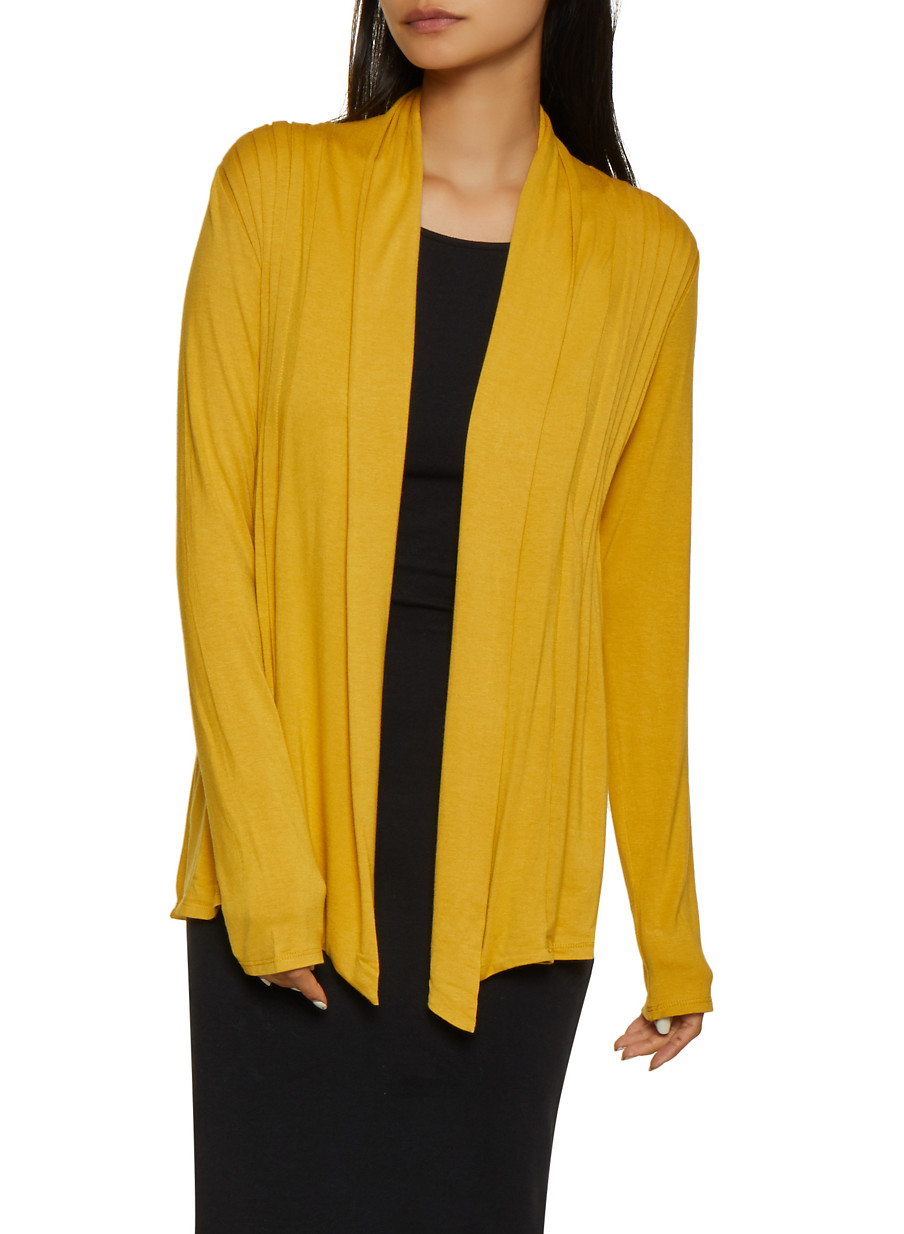 Long Sleeve Pleated Cardigan - Yellow - Size M