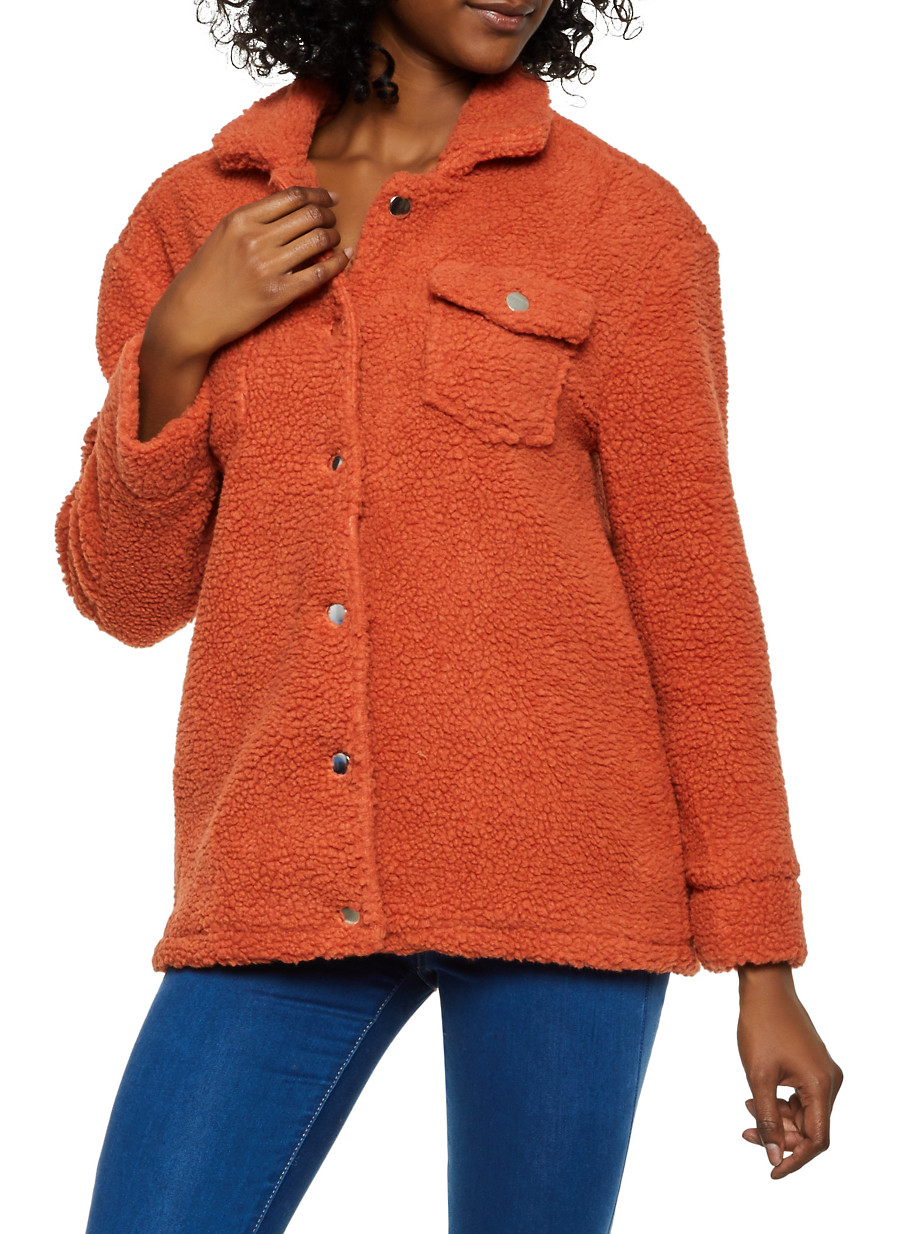 Sherpa Button Front Jacket - Orange - Size S