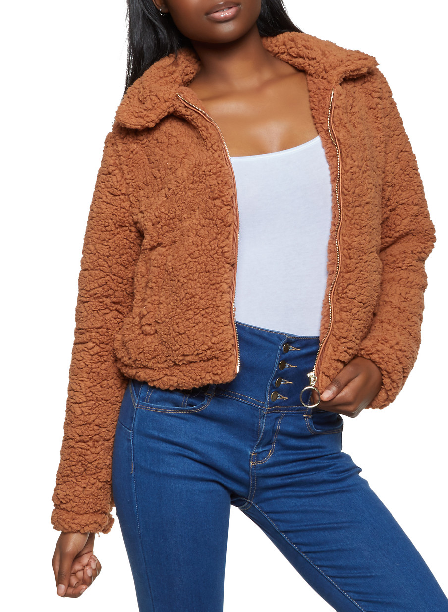 Zip Up Sherpa Jacket - Brown - Size S