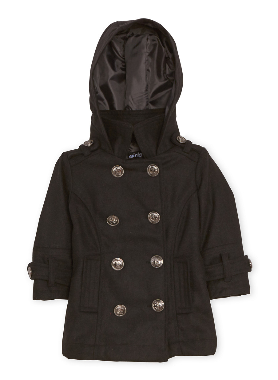 Toddler Girls Peacoat with Hood - Rainbow