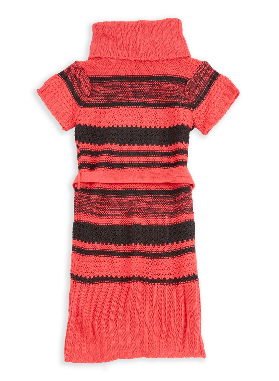 Girls 4-6x Cowl Neck Sweater Dress with Hat - Rainbow