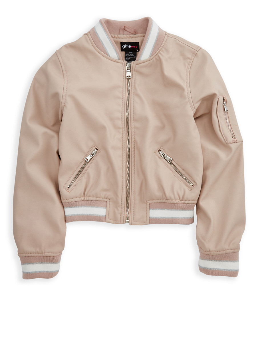 Girls 4-6x Faux Leather Bomber Jacket - Rainbow