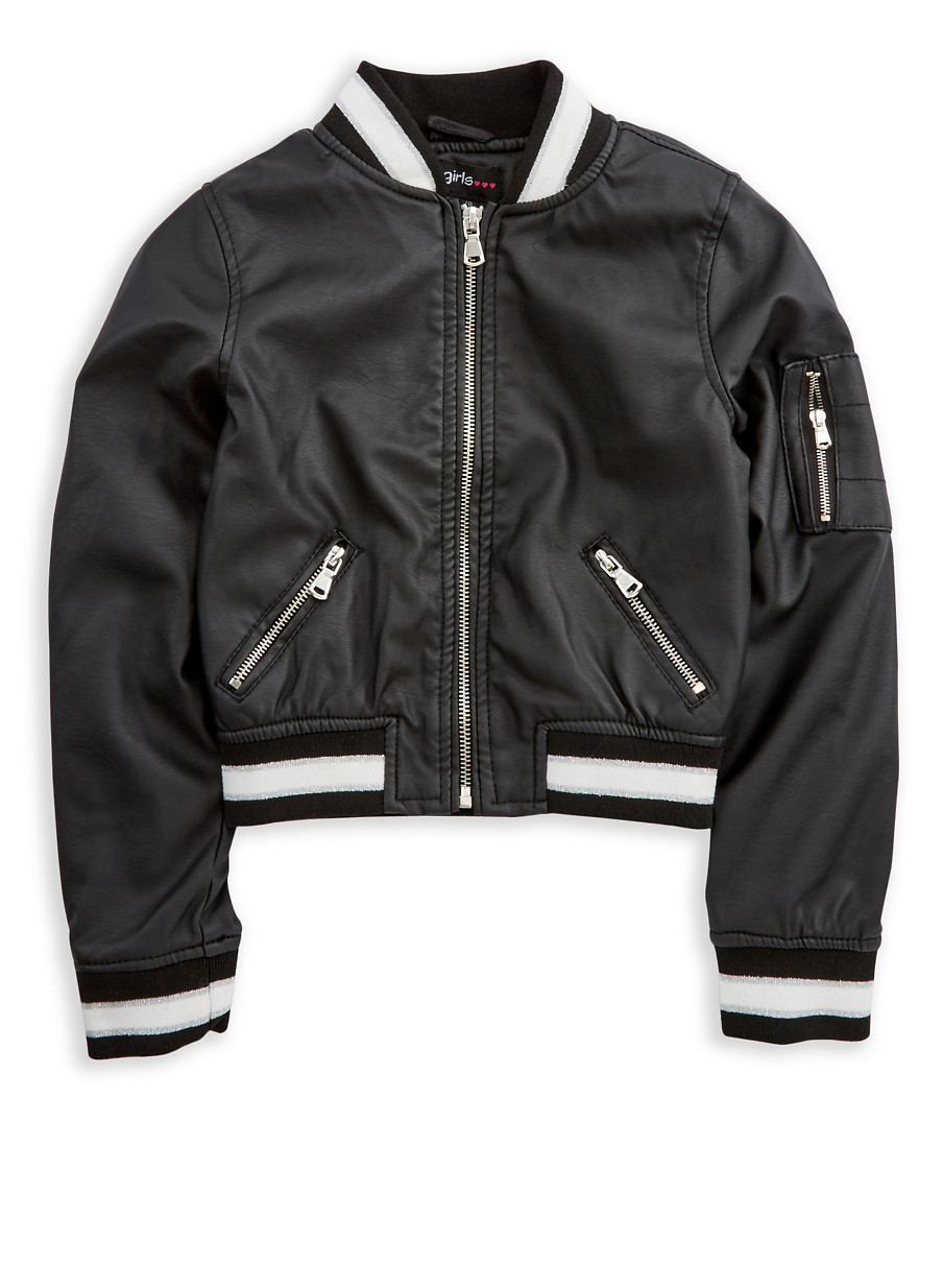 Girls 7-16 Black Faux Leather Bomber Jacket - Rainbow