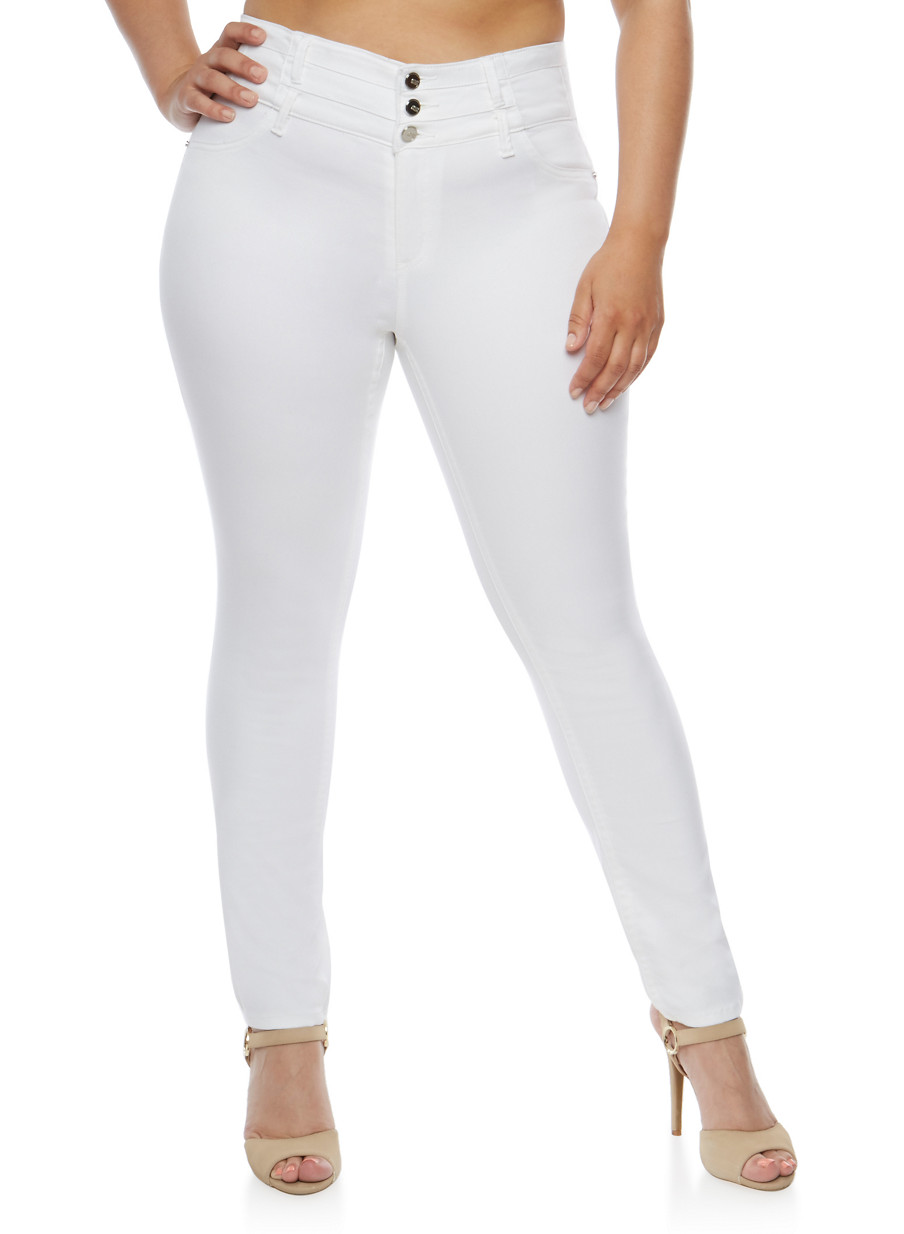 Plus Size Almost Famous White Skinny Jeans - Rainbow