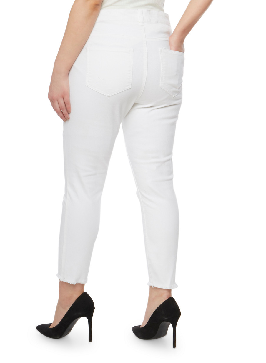 Plus Size Almost Famous High Waisted Cropped Skinny Jeans - Rainbow