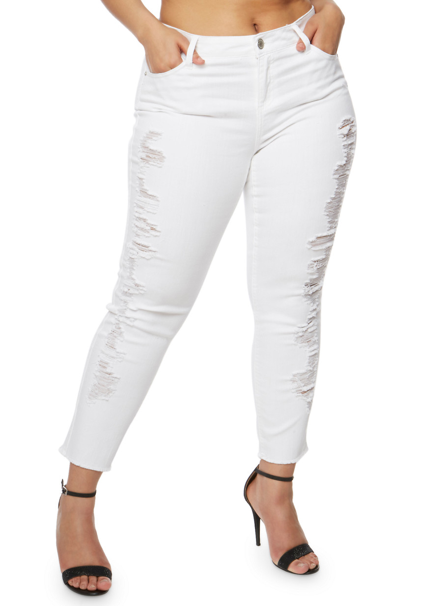 Plus Size Almost Famous Distressed White Skinny Jeans - Rainbow