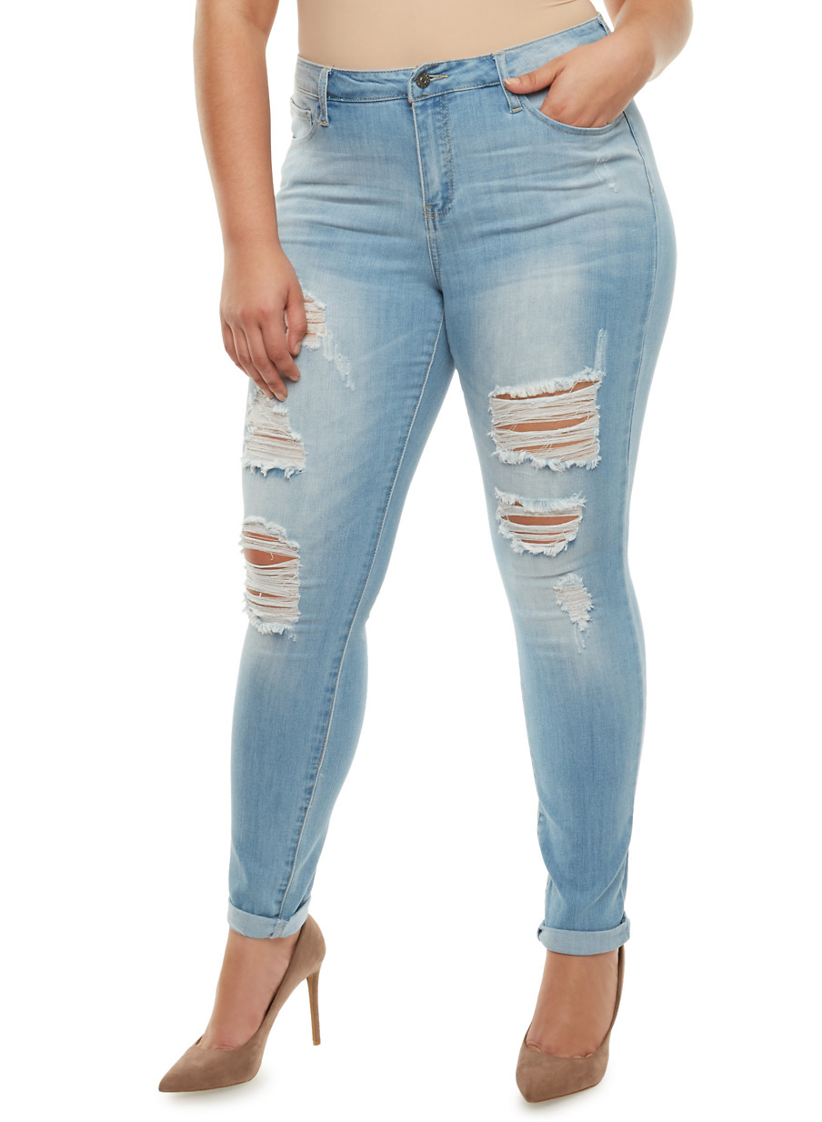 Plus Size Cello Distressed Jeans with Rolled Cuffs - Rainbow