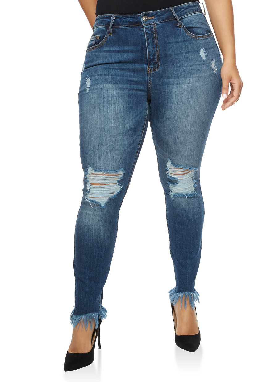 Plus Size Cello Ripped Skinny Jeans with Frayed Hem - Rainbow