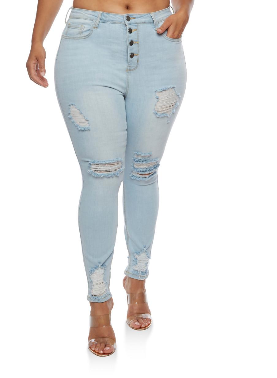 Plus Size Cello 4 Button Skinny Jeans - Rainbow