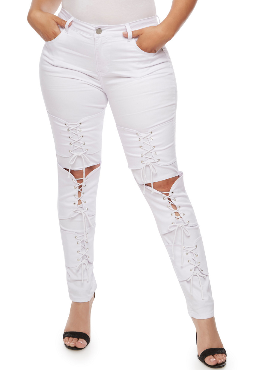 Plus Size VIP Lace Up Skinny Jeans - Rainbow