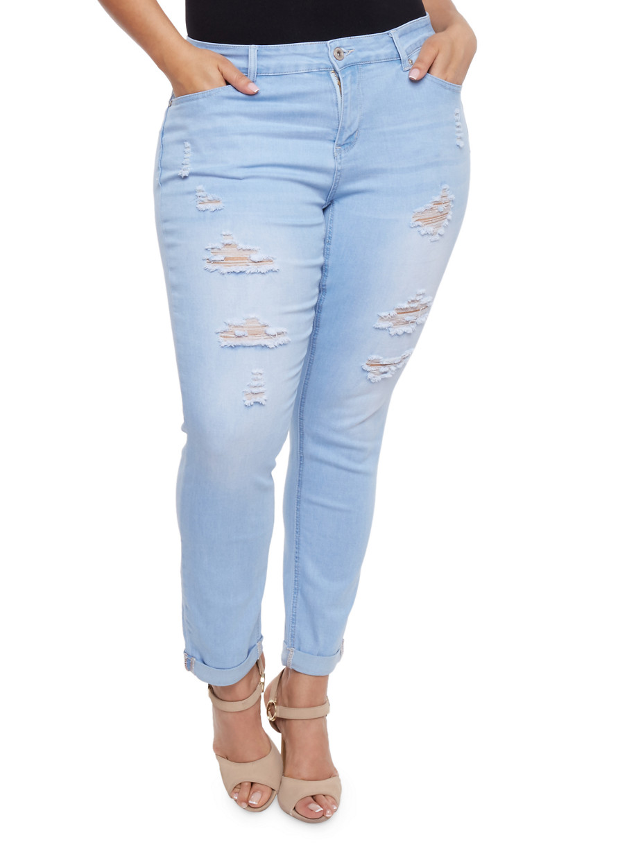 Plus Size WAX Distressed Push Up Jeans - Rainbow