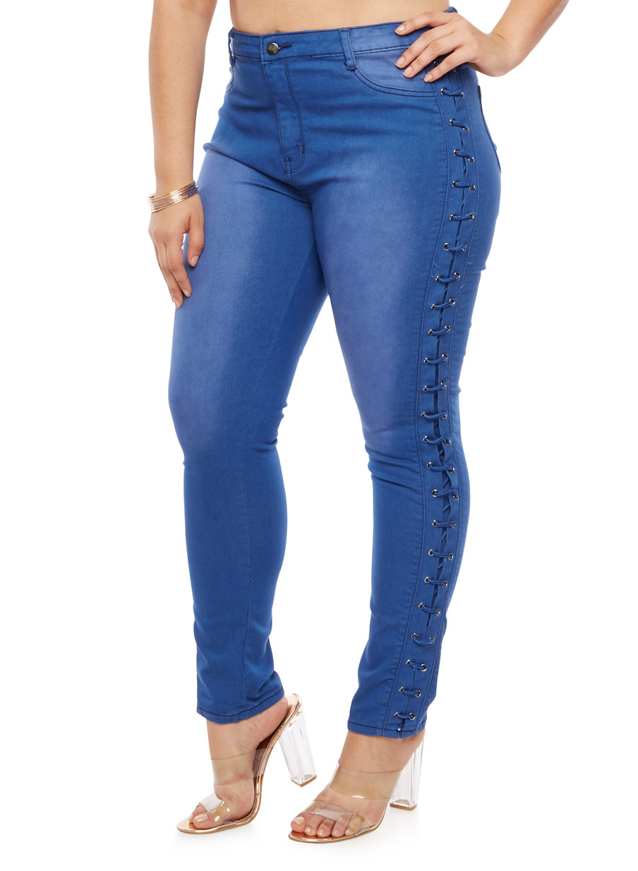 ... Plus Size Lace Up Side Colored Skinny Jeans,BLUE,large - Plus Size Lace Up Side Colored Skinny Jeans - Rainbow