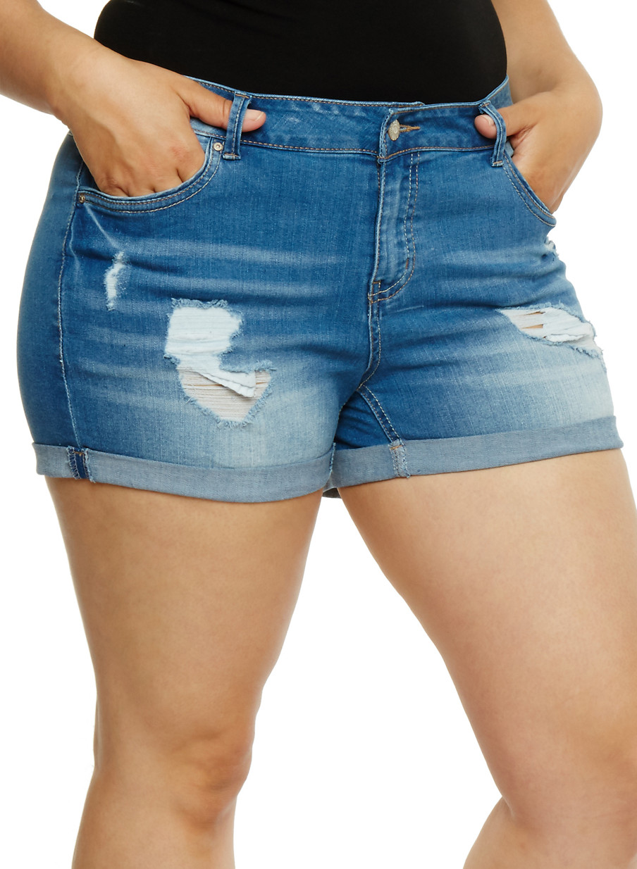 Plus Size WAX Distressed Denim Shorts - Rainbow